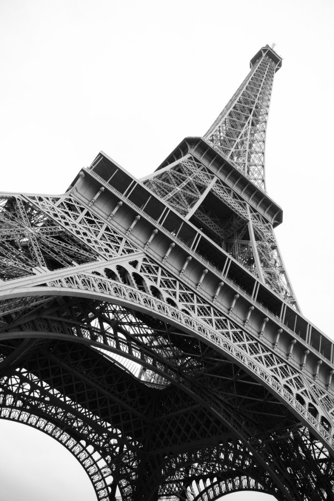 Eiffel Tower in Paris France in black and white