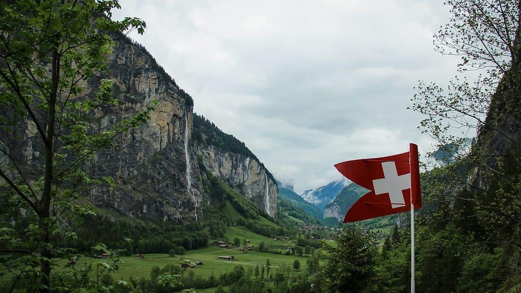 Beautiful Swiss vistas of waterfalls in Trummelbach