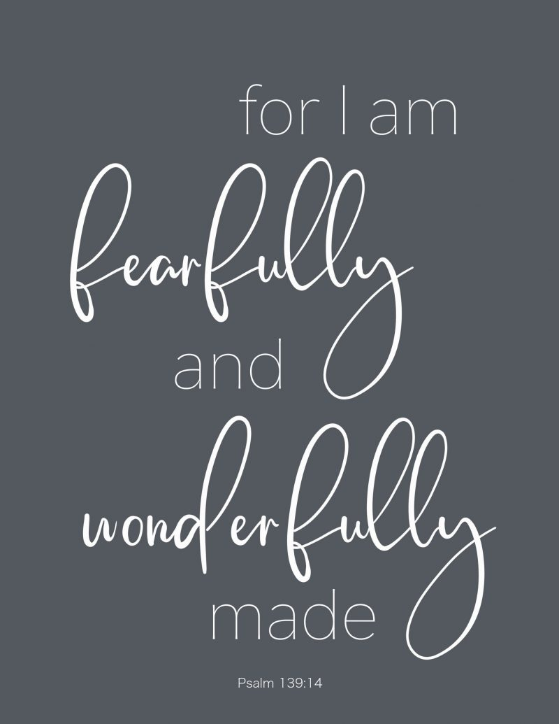 for I am fearfully and wonderfully made in black and white