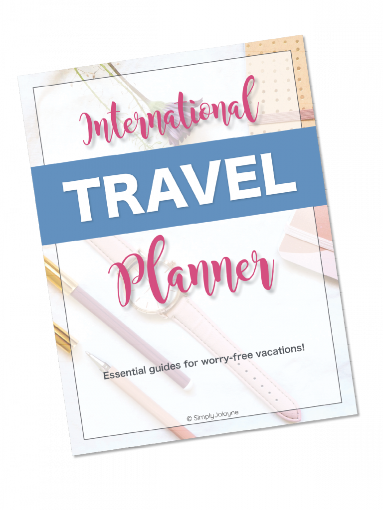 International travel planner for resources page
