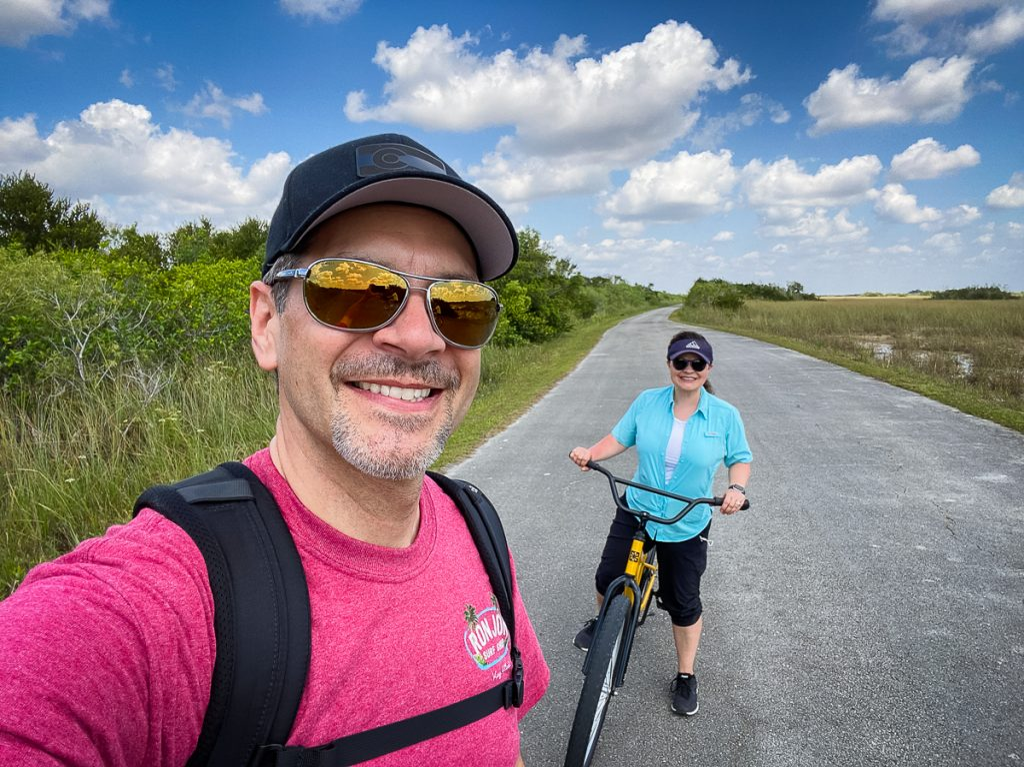 Couple biking in Shark Valley