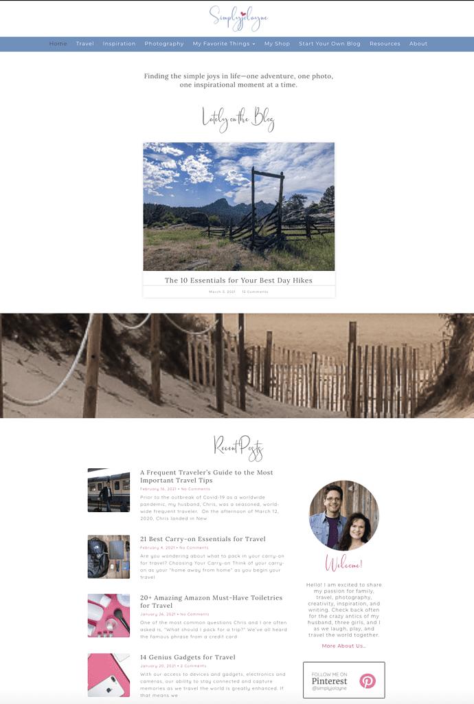 simplyjolayne.com home page design