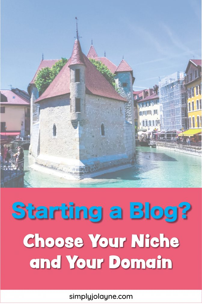 Pinterest pin for choosing your niche and domain to start a blog