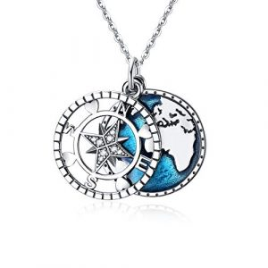 Compass Pendant Sterling Silver Necklace