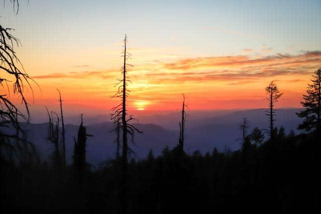 sun going down close to Yosemite