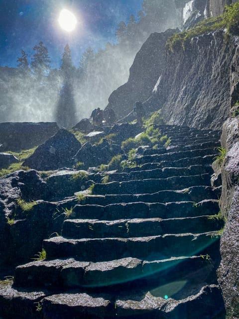 Granite steps to Vernal Falls in Yosemite
