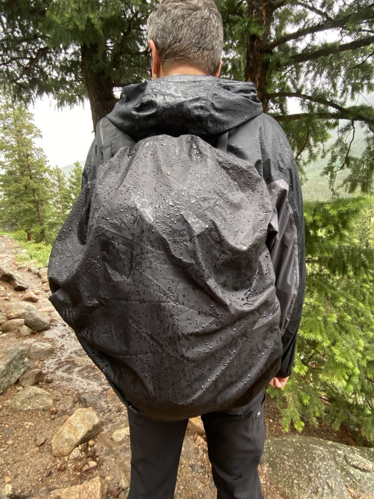 Wet backpack cover hiking in Rocky Mountain National Park