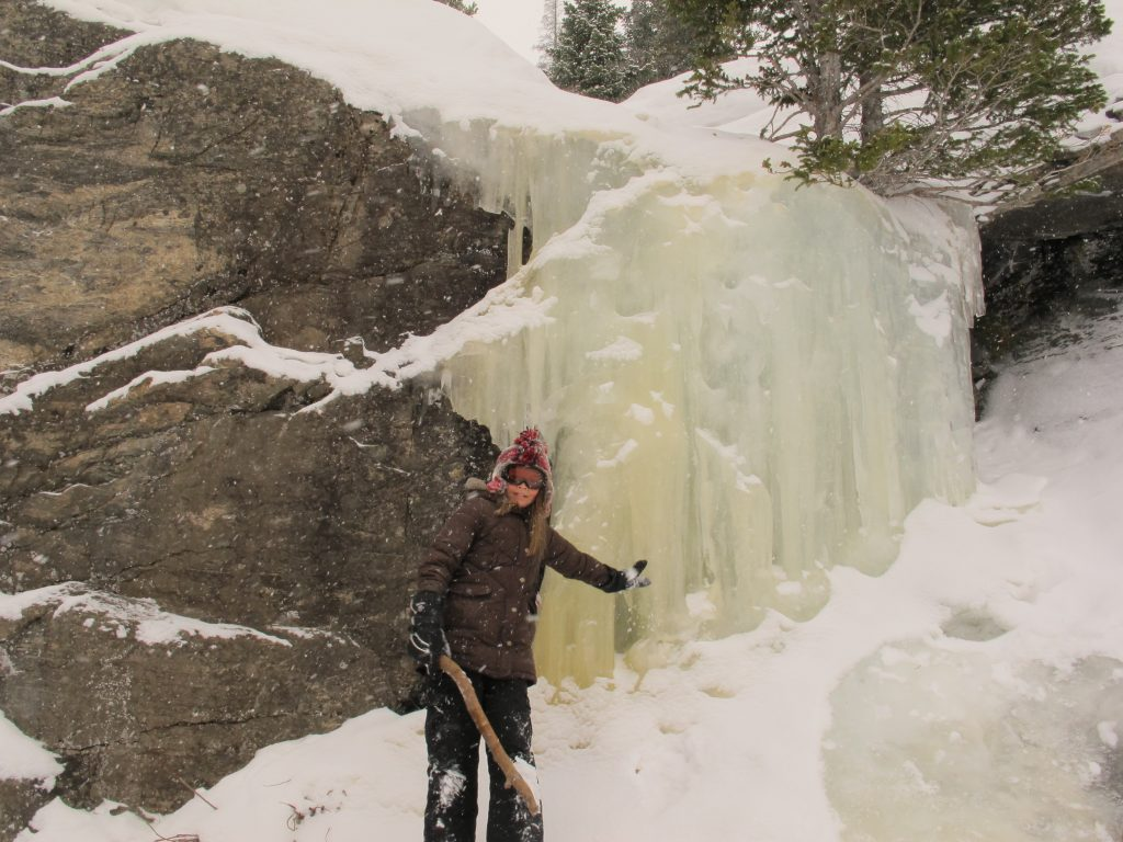 Alberta Falls in winter in Rocky Mountain National Park