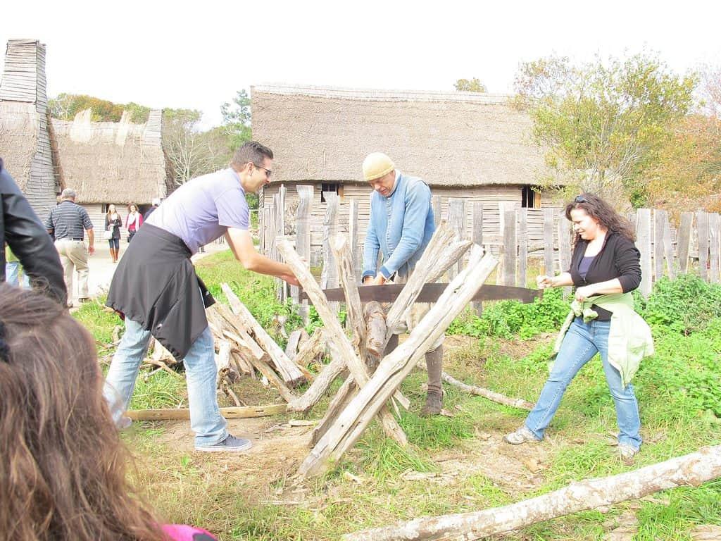 sawing logs at the Plimoth Plantation