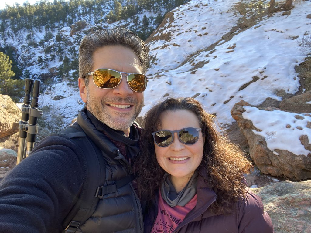 Chris and Jolayne on hikes in Colorado