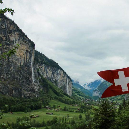 Beautiful Swiss vistas of waterfalls in Tremmelbach